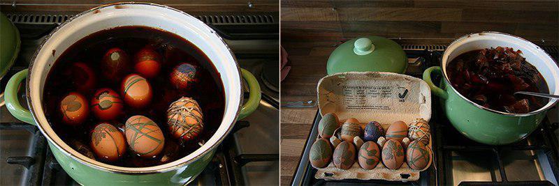 варка куриных яиц в луковой шелухе
