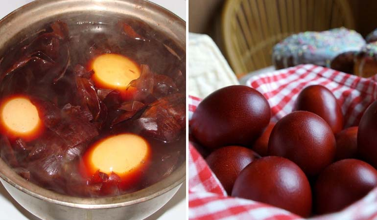 окраска яиц в луковой шелухе