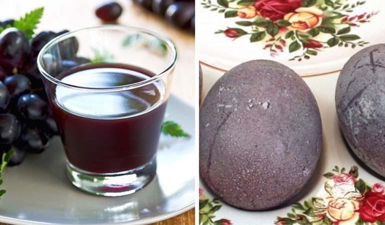 окрашивание яиц виноградным соком