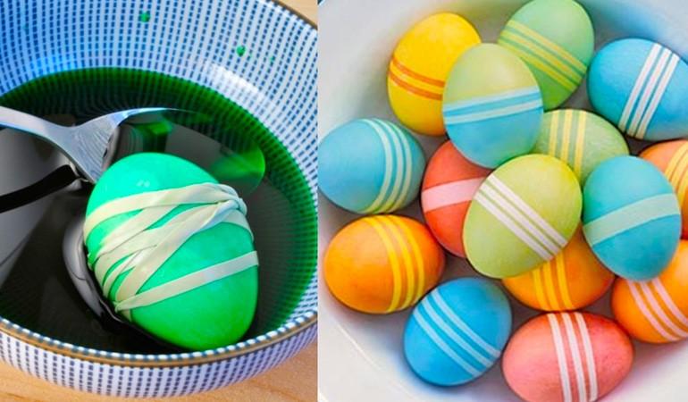 красим яйца с помощью резинки