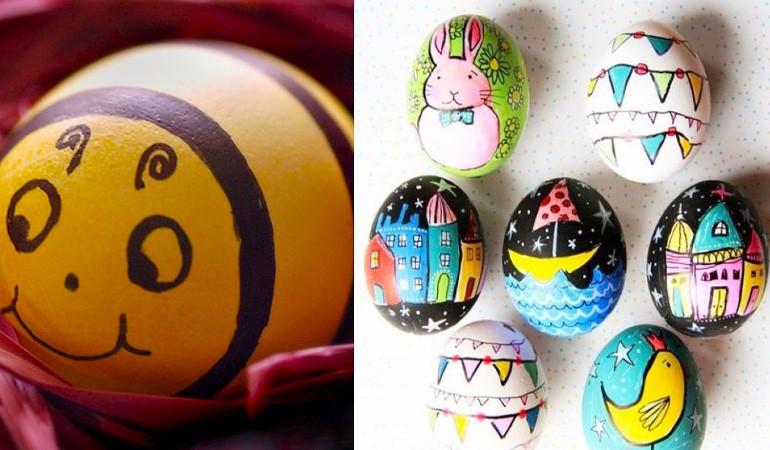 украшение яиц детскими рисунками