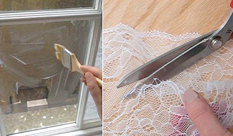как приклеить тюль или кружево на окна