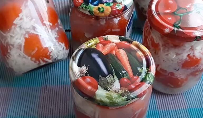 заготовка помидоры под снегом