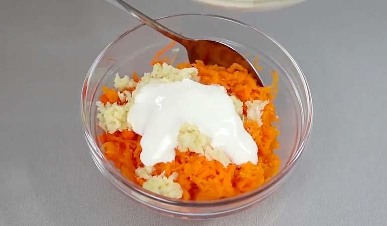 морковь с чесноком и желейным майонезом